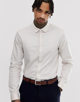 ASOS DESIGN wedding slim fit sateen shirt in off white
