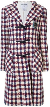 Chanel Pre Owned Checked Tweed Hooded Coat