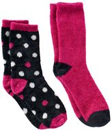 Cuddl Duds Girls 4-16 2-pk. Dot & Solid Chenille Crew Socks