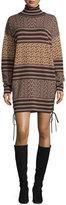 Rachel Zoe Fran Mixed-Pattern Turtleneck Sweaterdress