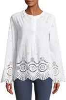 Neiman Marcus Bell-Sleeve Eyelet Button-Front Blouse