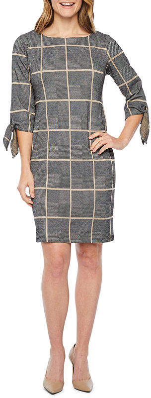Liz Claiborne 3/4 Sleeve Windowpane Shift Dress