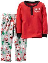 Carter's Baby Boy Thermal Henley & Santa Fleece Pants Pajama Set