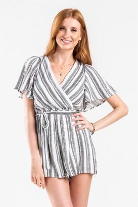 francesca's Avah Stripe Kimono Romper - Black/White
