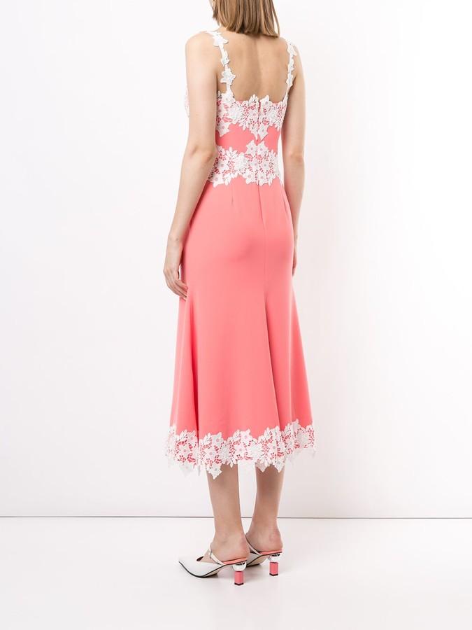 Thumbnail for your product : Lela Rose Lace-Detail Sleeveless Midi Dress