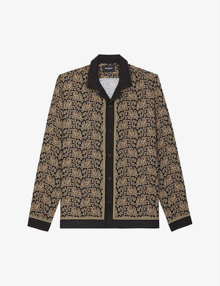 The Kooples Paisley-print contrast-trim woven shirt