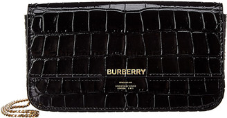 Burberry Camille Croc-Embossed Leather Wallet On Chain
