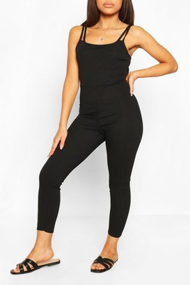 boohoo Petite Strap Detail Fitted Rib Jumpsuit