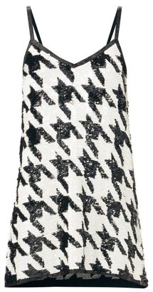 Ashish Sequinned Houndstooth-check Mini Dress - Black White