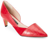 French Connection Tessi Red Konelli Mixed Media Pointed Toe d'Orsay Pumps