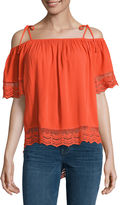 BY AND BY by&by Elbow Sleeve Boat Neck Knit Blouse-Juniors