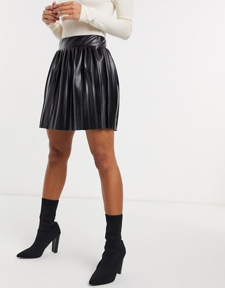 ASOS DESIGN leather look pleated mini skirt in black