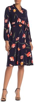 London Times Floral Waist Tie Midi Dress