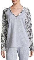 Cosabella Leopard-Print Long-Sleeve Lounge Top, Heather Gray