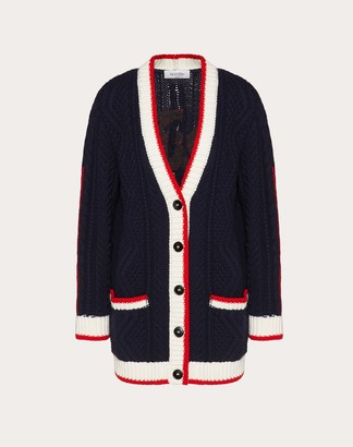 Valentino Signature Embroidered Cashmere And Wool Cardigan Women Navy/ Red Virgin Wool 70%, Cashmere 30% L