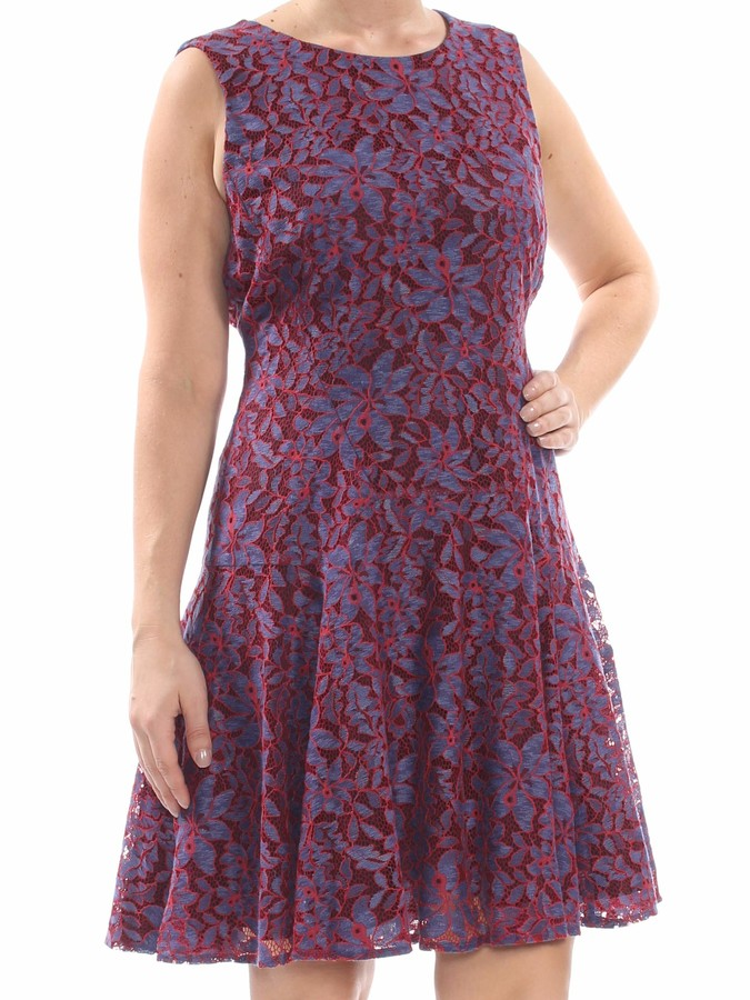 Tommy Hilfiger Women's Indigo Lace Fit and Flare Dress