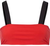 Rochelle Sara The Michelle Striped Bandeau Bikini Top - Red