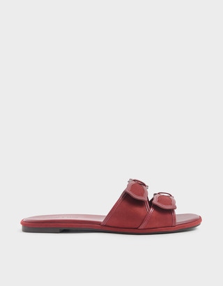 Charles & Keith Textured Double Bow Slide Sandals