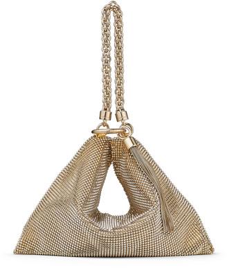 Jimmy Choo CALLIE Metallic-Gold Chain Mail Mesh Clutch Bag with Chain Strap