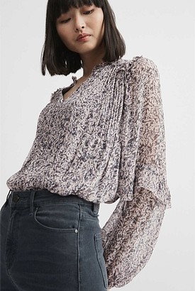 Witchery Print Frill Sleeve Blouse