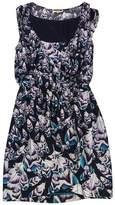 Leifsdottir Black, Purple & Aqua Feather Print Dress