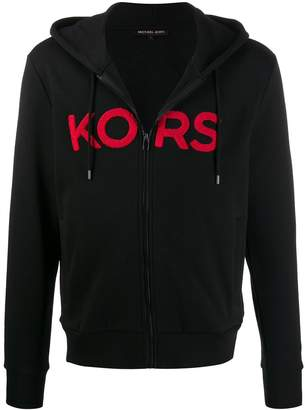 Michael Kors logo patch zipped hoodie
