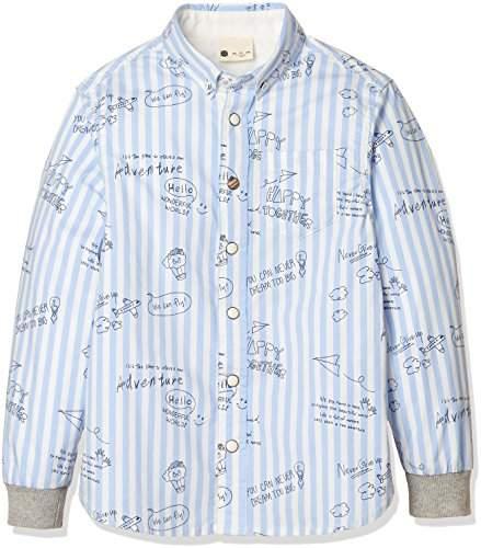 Giordano (ジョルダーノ) - (ジョルダーノ)GIORDANO 袖リブストレッチシャツ GD18SP-03048001 011 ブルー 120
