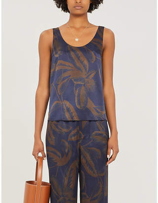 Vince Palm-leaf print silk top