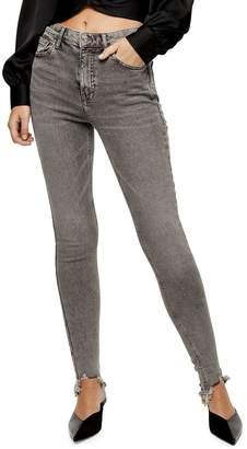 Topshop Grey Jagged-Hem Jamie Skinny Jeans 30-Inch Leg