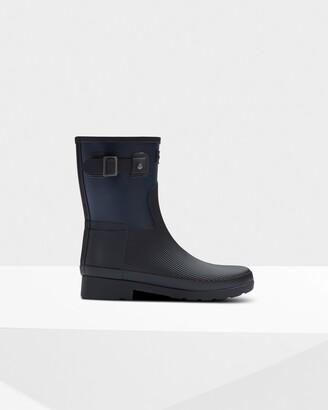 Hunter Women's Refined Texture Block Slim Fit Short Rain Boots