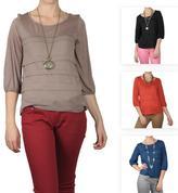 Journee Collection Women's Three-quarter Sleeve Scoop Neck Top