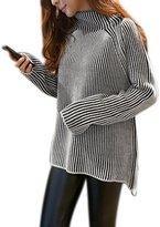 uxcell Women Mock Neck Long Sleeve Printed Low High Hem Tunic Sweater