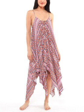 Jessica Simpson Laguna Beach Printed Handkerchief-Hem Cover-Up Dress Women's Swimsuit