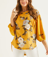 Suzanne Betro Weekend Women's Tunics 101YELLOW - Yellow Floral Puff-Sleeve Hi-Low Top - Women & Plus