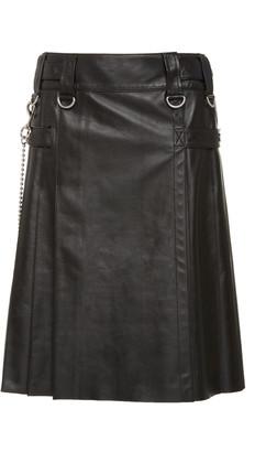 Michael Kors Pleated Plonge Leather Kilt