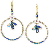 Betsey Johnson Gold-Tone Crystal Bug and Flowers Gypsy Pavé Hoop Earrings