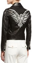 Veronica Beard Freedom Embroidered Eagle Leather Moto Jacket, Black