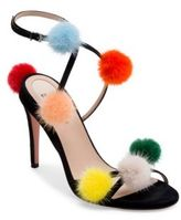 Fendi Mink Fur Pom-Pom Suede Sandals