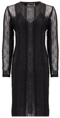 Ann Demeulemeester Inside-out Layered Lace Midi Dress - Black