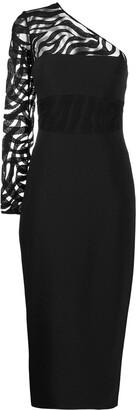 David Koma Sheer Panel One Shoulder Dress