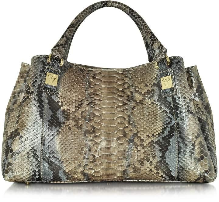 Ghibli Dark Gray Phyton Leather Satchel Bag