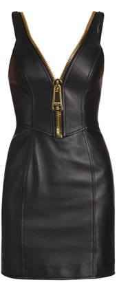 Moschino Oversized Zip Sleeveless Leather Mini Dress