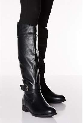 Quiz Black Faux Leather Western Knee Boot