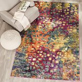 """Safavieh Monaco Collection MNC225D Modern Abstract Watercolor Pink and Multi Area Rug (4' x 5'7"""")"""