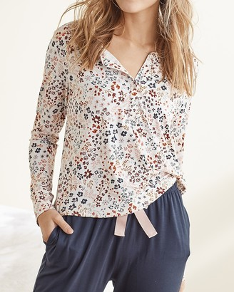 Express Upwest Floral Lounge Henley Tee