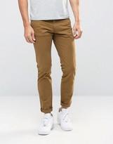 Pull&bear Slim 5 Pocket Jeans In Camel