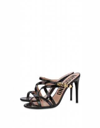 Moschino Mini Lettering Patent Leather Sandals Woman Black Size 36 It - (6 Us)