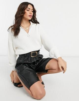 ASOS DESIGN zip front jumper with collar in cream