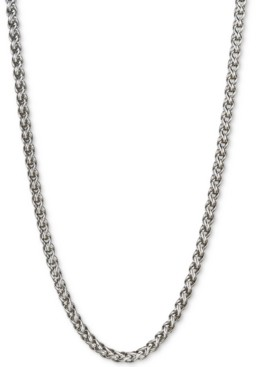 """Esquire Men's Jewelry 22"""" Wheat Chain Necklace in Sterling Silver, Created for Macy's"""