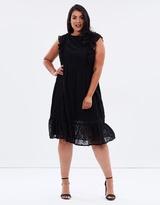 Frill Sleeve Broderie Dress